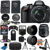 Nikon D3200 24.2 MP CMOS Digital SLR Camera (Black) 18-55mm f/3.5-5.6G ED II AF-S DX Zoom Autofocus Lens + 2x Professional Lens + HD Wide Angle Lens + 32GB Bundle International Version (No Warranty)