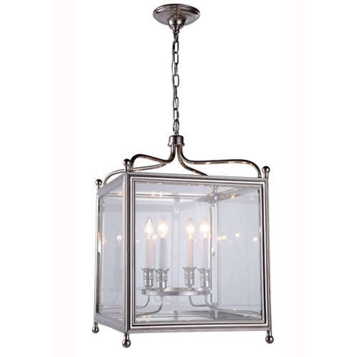 These sturdy and graceful structures enshrine classic candelabra lamps behind panes of glossy clear glass.   Item #WIG 551414D18-PN