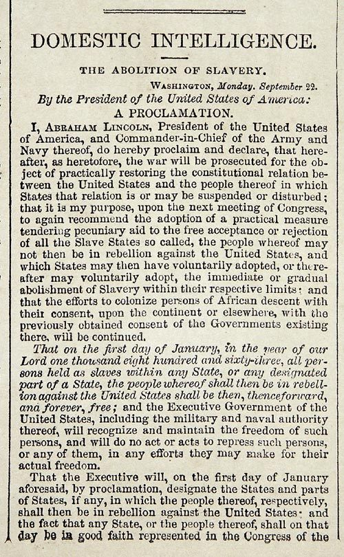 President Abraham Lincoln's  Emancipation Proclamation!