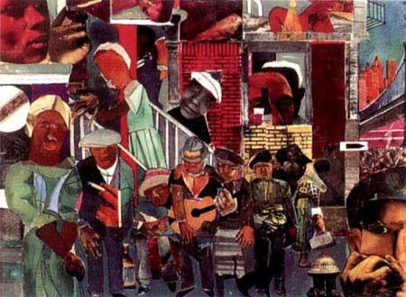 """""""The Street"""" (1975) Romare Bearden"""
