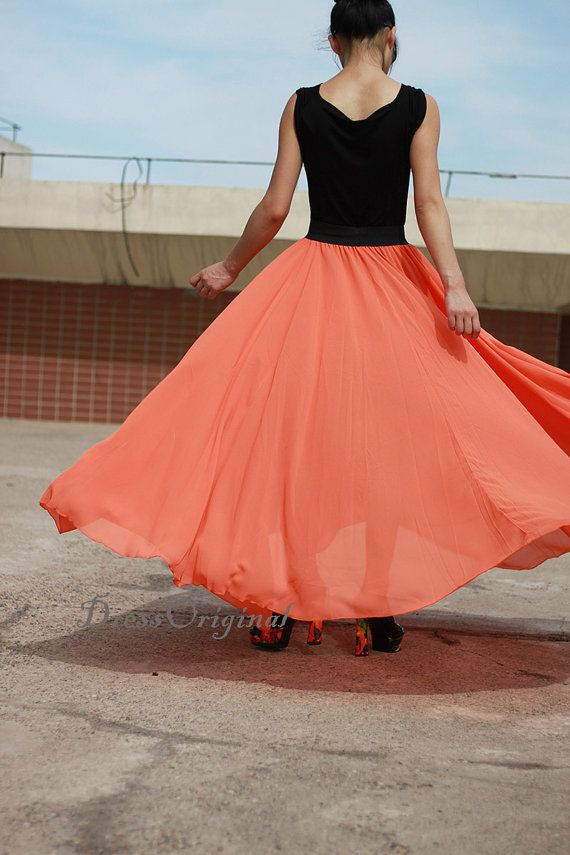 orange Maxi skirt, orange floor-length skirt, Double layered chiffon skirt, long skirt, draping skirts ★ Main Color: 9 main colors available. Color custom service available. We could custom make this skirt at any color you want. Please just email us the color you want, and we will