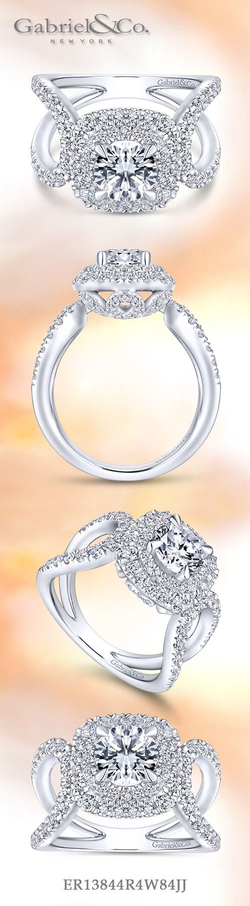 Gabriel & Co.-Voted #1 Most Preferred Fine Jewelry and Bridal Brand. 18k White Gold Round Double Halo  Engagement Ring