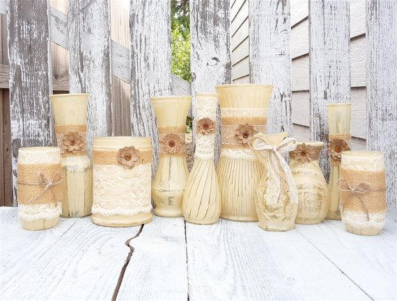 Burlap and lace vases