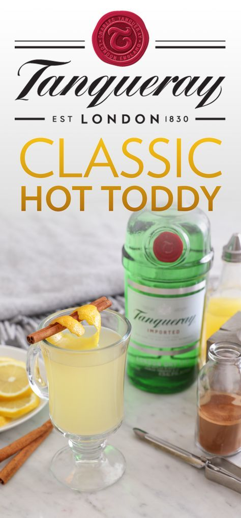 Warm up this winter with a classic hot toddy. It's the perfect cold weather cocktail for you and the crew. To make, mix 1.25 oz. Tanqueray London Dry, 0.75 oz. lemon juice, 2 oz. boiling water, 1 tsp sugar, and 1 dash cinnamon. Garnish with lemon twist and a cinnamon stick.