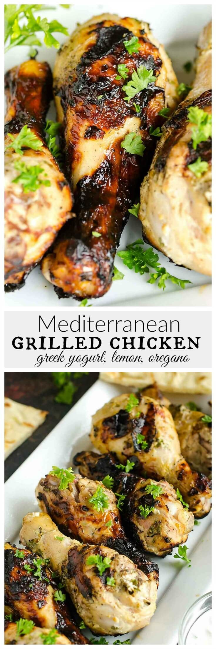 Mediterranean chicken recipes are so fresh and delicious tasting! This one is marinated in Greek yogurt, lemon, garlic and oregano. Grilled to perfection for a delicious summer dinner. Print Greek Yogurt Grilled Chicken Chicken drumsticks  marinated in Greek yogurt, lemon, garlic and oregano. Grilled to perfection for a delicious summer dinner. Course Main Course Cuisine …