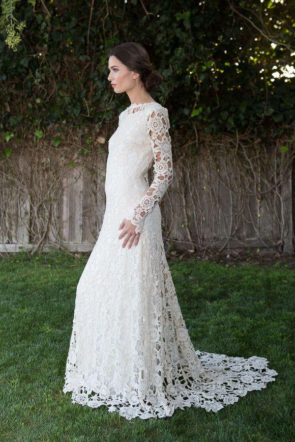 Vintage Bohemian Ivory Crochet Lace Wedding Dress UK 8 10 12 14 Long Maxi