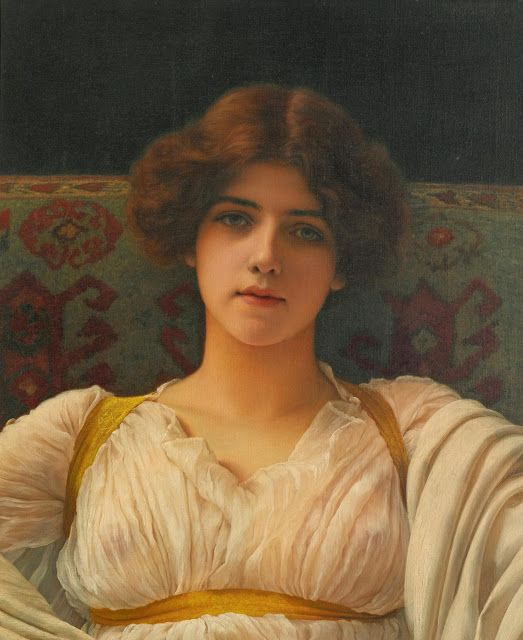 John William Godward (1861-1922), Study of A Head In Drapery, Miss Ethel Warwick - 1898