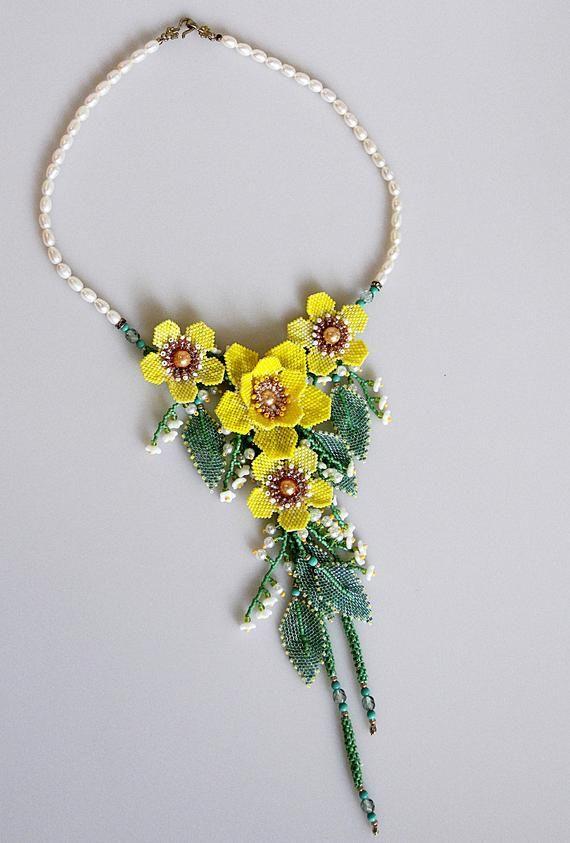 Cascading Anemone Flower Bouquet Bead Embroidered Flower Beaded Necklace Handmade Original Necklace Beaded Necklace Diy Fabric Jewelry Bead Weaving Patterns