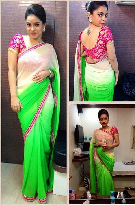 Sumona Chakravarti Chiffon Green & Cream Plain Bollywood Style Saree - 1269 at Rs 2392