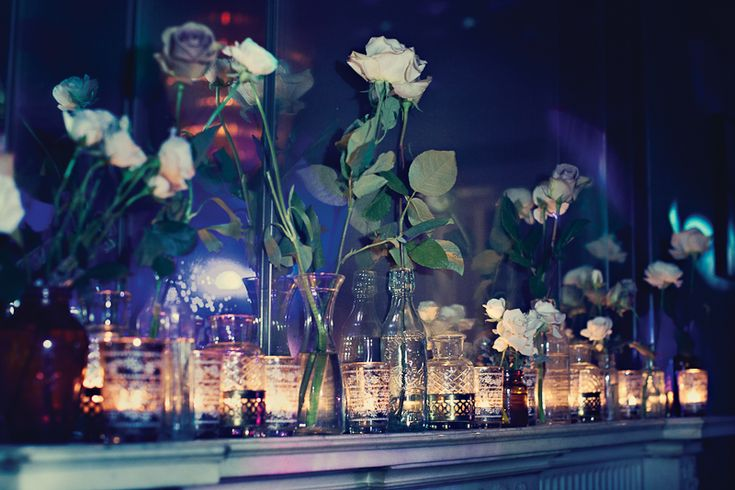 Flowers by Passion tea lights and bottles