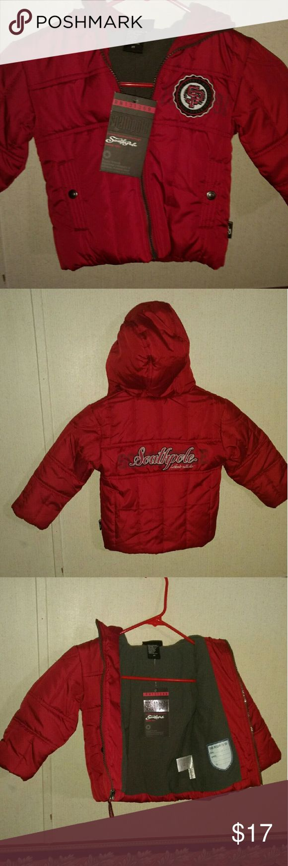 Southpole toddlers hoodie jacket NWT size 2T Southpole toddlers hoodie jacket, NWT, mint condition, main color is red, size 2T could be unisex, looks more like boys jacket, very nice South Pole Jackets & Coats