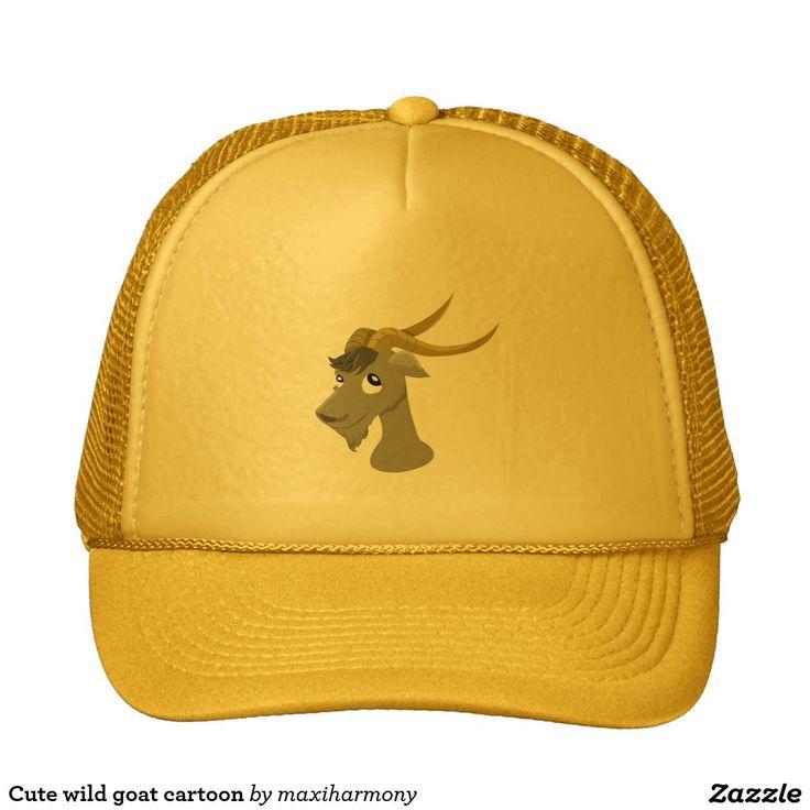 Cute wild goat cartoon trucker hat
