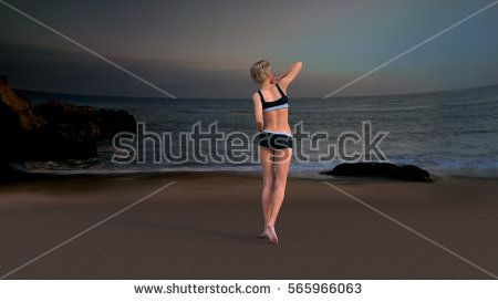 views of the beach with a young girl standing back to camera. Night. 3D rendering, 3D illustration