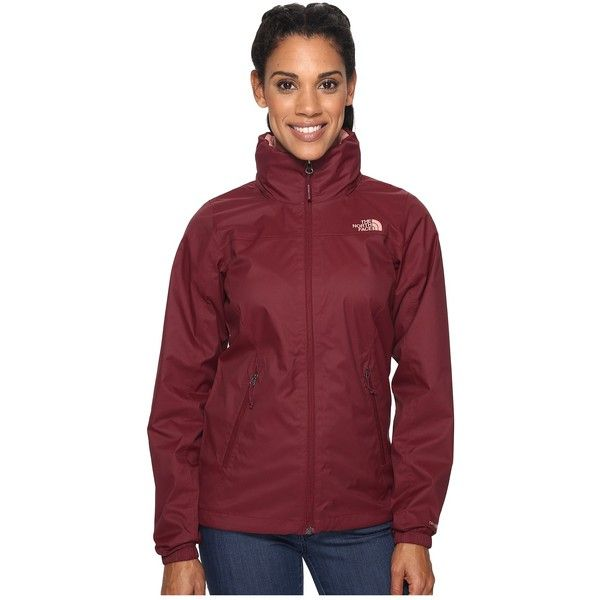 The North Face Resolve Plus Jacket (Deep Garnet Red (Prior Season)) ($80) ❤ liked on Polyvore featuring outerwear, jackets, red jacket, red hooded jacket, straight jacket, waterproof hooded jacket and standing collar jacket