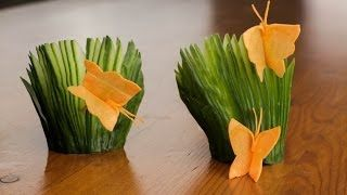 How To Make A Carrot Butterfly And Cucumber Fans Garnish,  for more sushi pics follow me here: @makesushiorg #food #sushi Also check out these sushirecipes here: www.makesushi.org