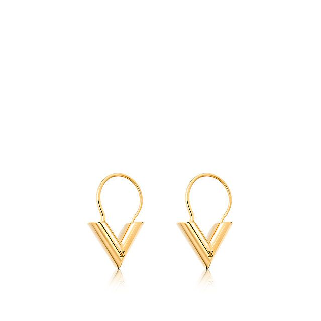 Discover Louis Vuitton Essential V hoops: Sleek and elegant, the Essential V small hoop earrings are the perfect example of Louis Vuitton style. The Vs are gracefully signed with the LV hallmark.