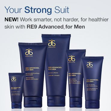 RE9 Advanced for Men 2016 New and improved Arbonne Men's Care Lotion, Shave Cream, Exfoliating Face Wash, After Shave, Eye Cream