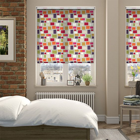 Blocks Plum Roller Blind from Blinds 2go