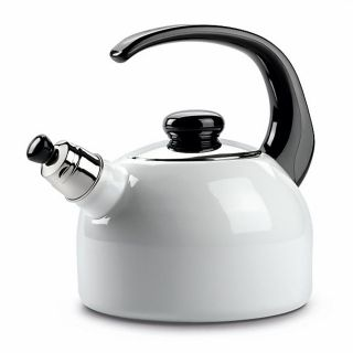 RIESS WHISTLING KETTLE WHITE WITH BLACK HANDLE 2L