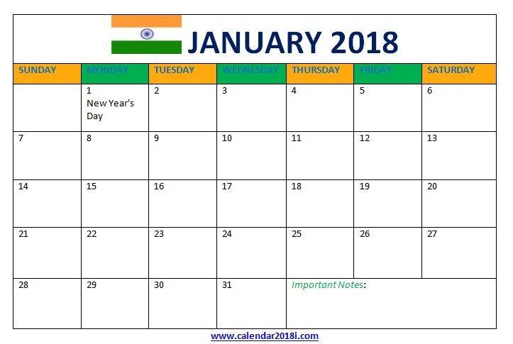 January 2018 Calendar With Holidays India January 2018 Calendar