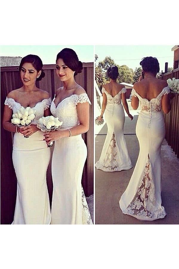 Glamorous Off The Shoulder Mermaid Floor Length Lace Chiffon White Bridesmaid Dress