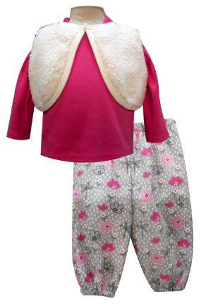 Chaleco de borrega, playera manga larga y pantalón de pana con elástico en tobillos. Tallas 3, 6, 12 y 18 meses.