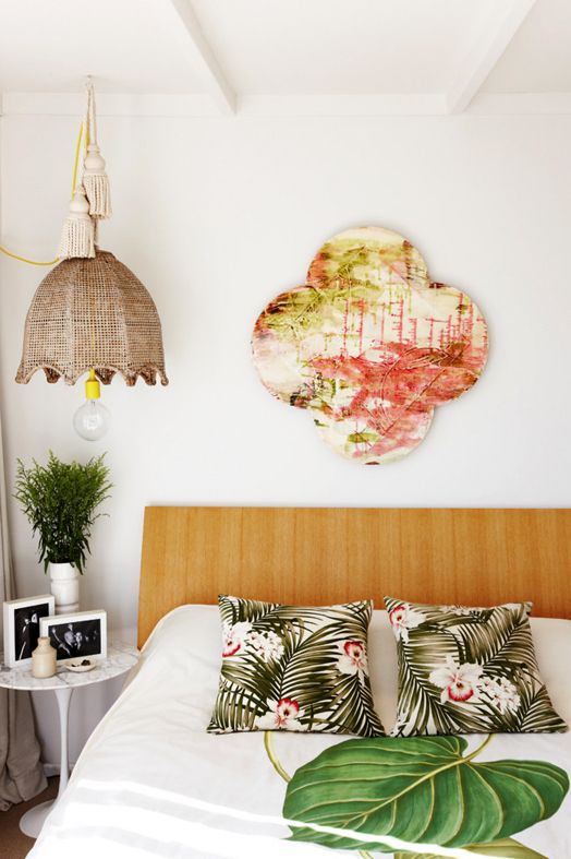 Holiday cottage bedroom...A Pacific feel with art by Emma Wright
