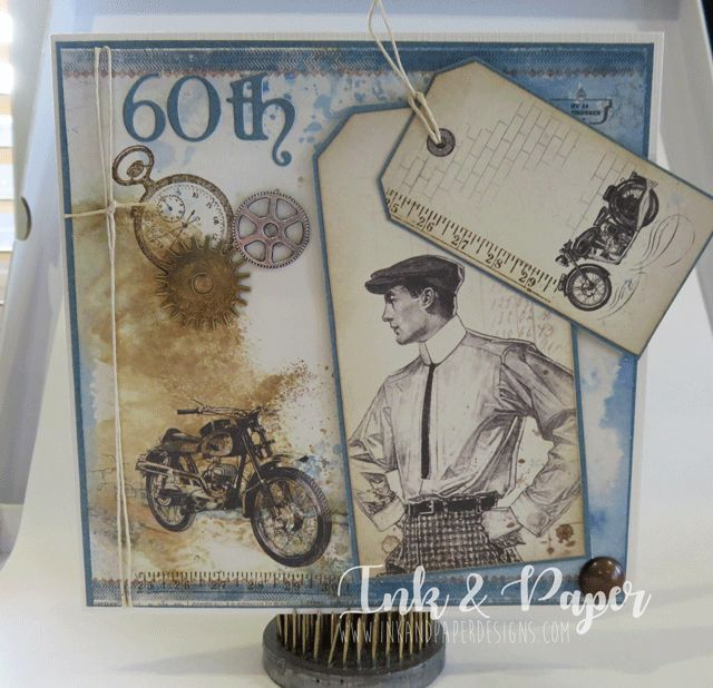 60th Birthday card using Pion papers and Distress Oxide ink in faded Jeans and Walnut stain.