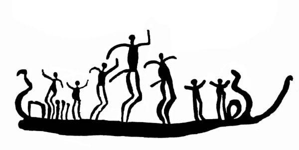 Der danses om bord på et skib. Man fornemmer bevægelsen og glæden ved dans. Grafik af helleristning fra Trättelanda, Bohuslän i Vestsverige. Yngre bronzealder, ca. 800 f.Kr. Fotografik: Flemming Kaul i samarbejde med Tanums Hällristningsmuseum, Underslös.