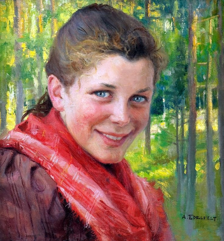 Albert Gustaf Aristides Edelfelt (Finnish painter), 1854 - 1905, Borgåflicka, 1895, oil on canvas