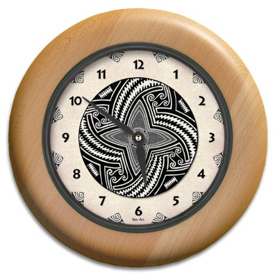 Pueblo Pot #1 Round Wood Wall Clock - From our Southwestern Clocks category, this clock features art work inspired by traditional Native American pottery designs.  $63.00