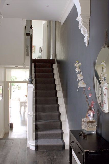 58 best hall stairs and landing images on pinterest - How to wallpaper stairs and landing ...