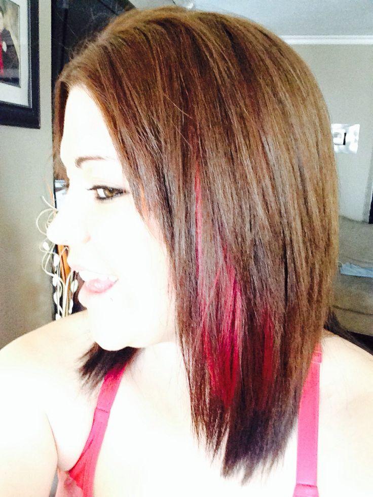 Pink Peekaboos in brown hair