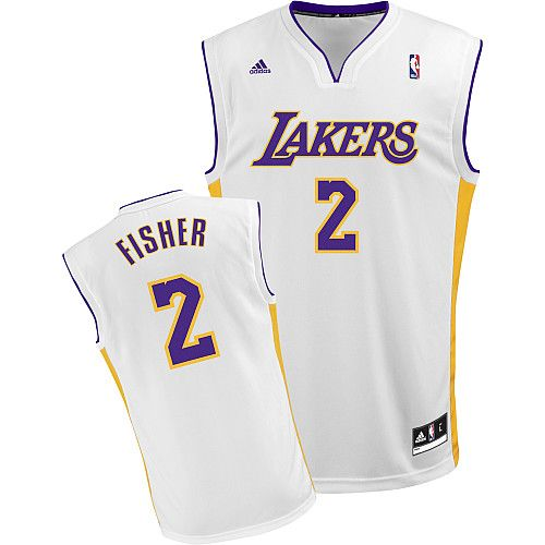 4eafe6ef75d4 Los Angeles LakersWhite JerseySoccer JerseysNbaFisher Lakers 2 Derek Fisher  Embroidered White Champion Patch NBA Jersey!