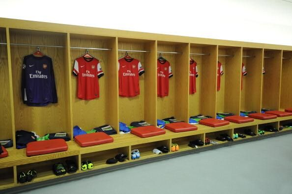 The Arsenal dressing room before the first Champions League fixture against Napoli, October 1, 2013.