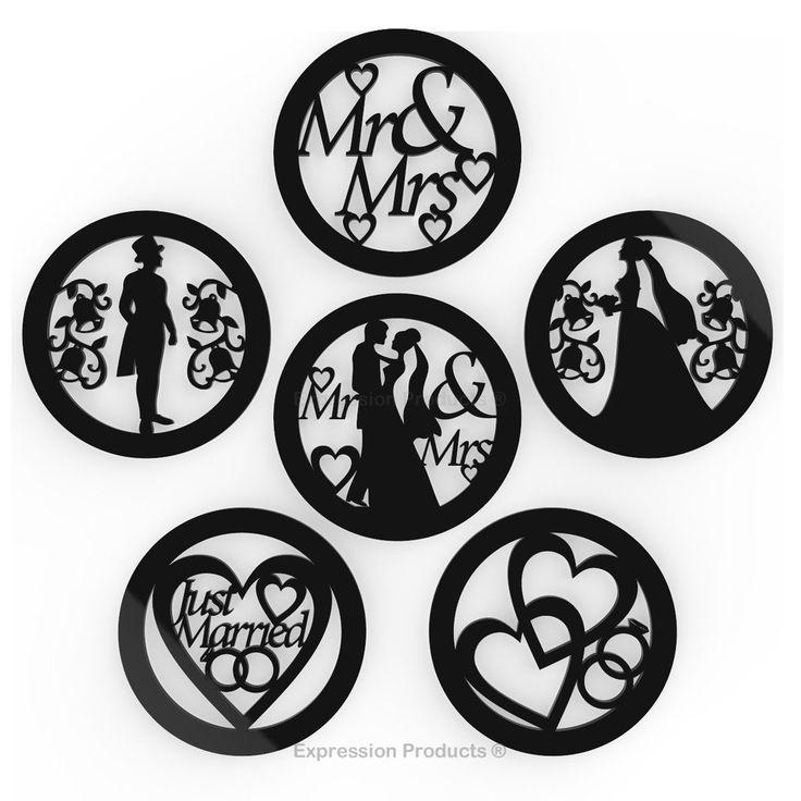 6 - Wedding Drink Coasters - Black or White Acrylic Wedding Table Decorations