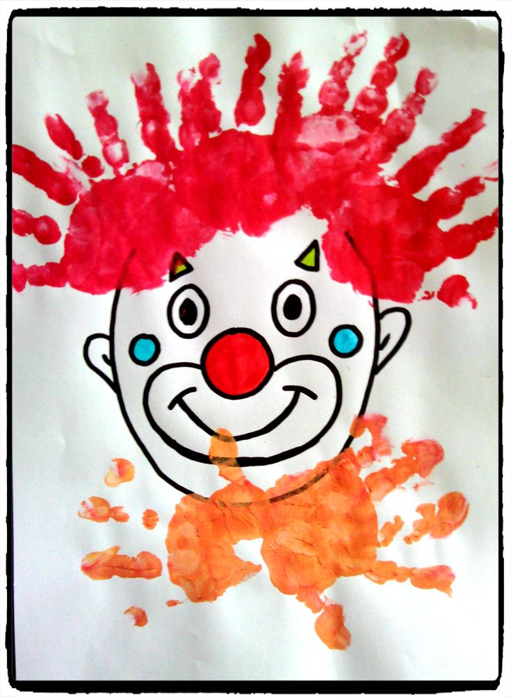 Empreintes de main peinture pinterest knutselen et clowns - Peinture main enfant ...