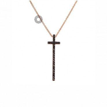 Μοντέρνο γυναικείο κολιέ σταυρός από ροζ χρυσό Κ18 με μαύρα διαμάντια σε λεπτή & μακρυά γραμμή | Κοσμήματα online κοσμηματοπωλείο ΤΣΑΛΔΑΡΗΣ στο Χαλάνδρι #σταυρος #διαμαντια #χρυσο #κολιε