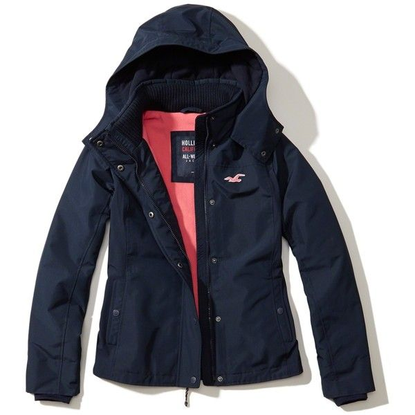 Hollister All-Weather Fleece Lined Jacket ($90) ❤ liked on Polyvore featuring outerwear, jackets, hollister, navy, hollister co jackets, blue zipper jacket, water resistant jacket, blue jackets and zip jacket