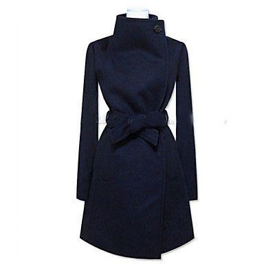 Lady Fashion Wide Lapel Woolen Coat - GBP £ 28.19