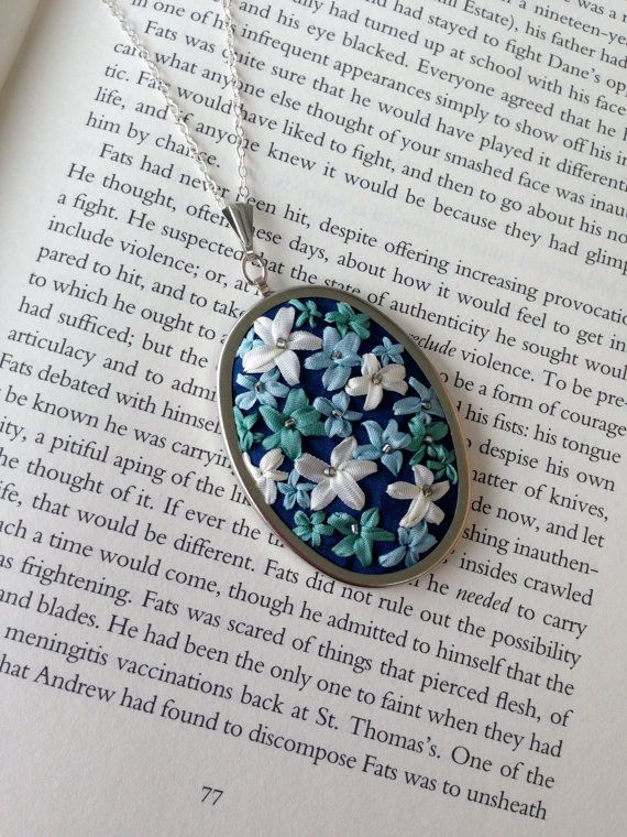 Embroidered Blue and Green Beaded Flower Pendant, handmade jewelry by BeanTown Embroidery, great gift idea, crafty