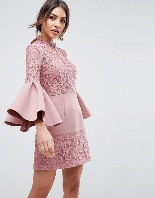 Lace Fluted Sleeve Scuba Skater Mini Dress In 2019 Wedding Guest