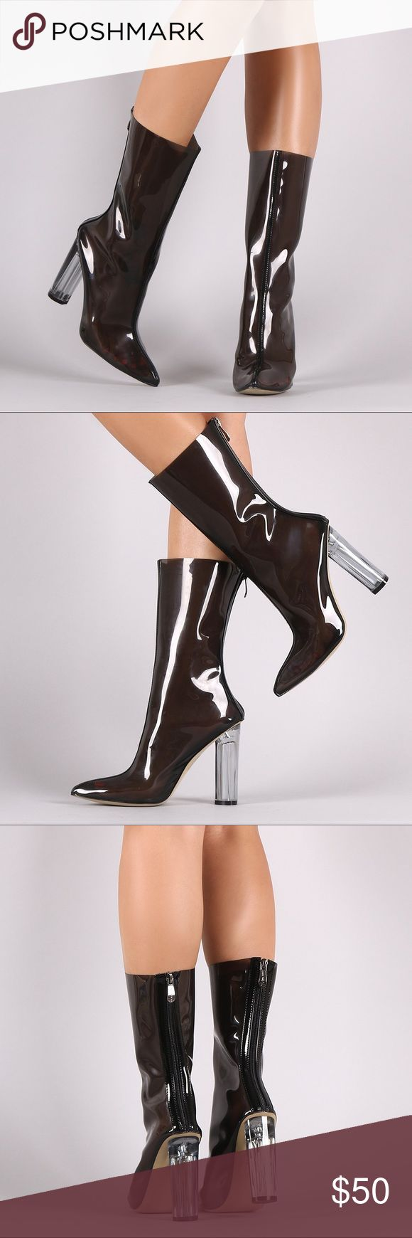Heeled mid calf rain boots/fashion boots These trendy mid calf boots feature a sheer design upper with patent leather trim, center stitched details, pointy toe silhouette, and architectural clear round heel. Finished with cushioned insole and rear zipper closure for easy on/off.      Could even be worn as a stylish rain boot   Material: PVC/Vegan Patent Leather (man-made) Sole: Synthetic Shoes