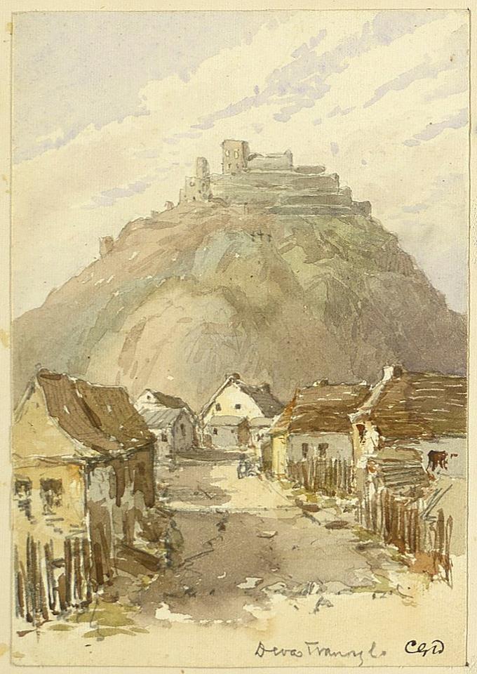 Deva (jud. Hunedoara) într-o acuarelă din 1877, de Charles Danford.