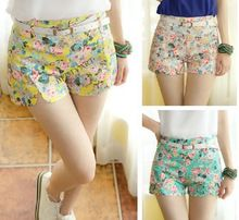 2014 summer new women trousers high waist shorts national wind retro fresh floral shorts free belt Best Buy follow this link http://shopingayo.space