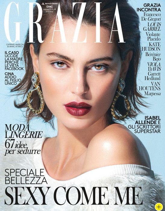 Actress Catrinel Marlon on Grazia Italia cover, makeup & hair by Massimo Serini, November 2015