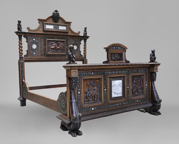 To)   Rare Neo Renaissance Style Bed Made Out Of Carved Walnut And Ebony  Veneer With Ivory Inlays   Bedroom Furniture