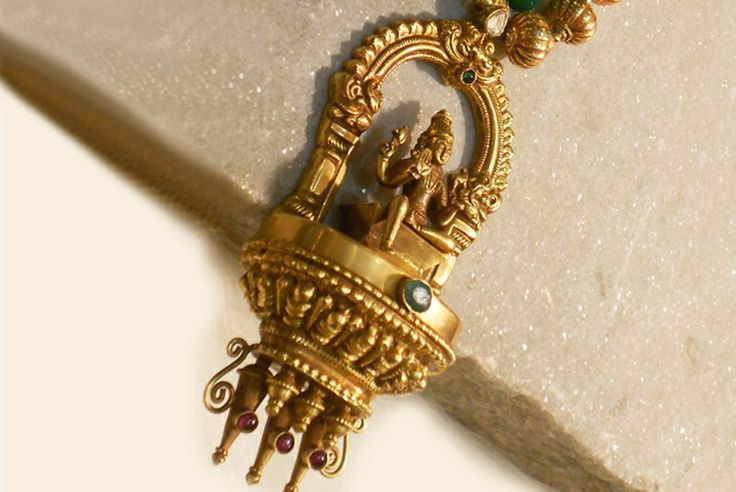 Temple jewellery pendant. Simple and classy. Description by Pinner Mahua Roy Chowdhury