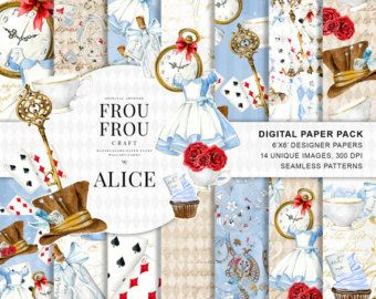 Alice in Wonderland Paper Pack Alice Digital Paper Pack Watercolor Mad Hatter Scrapbook Tea Party Background Fairytale Baby Shower Seamless