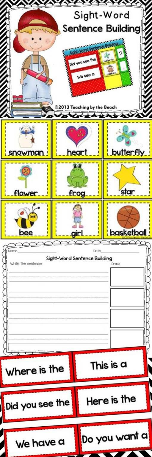 This PDF file has 4 Sight Word Sentence Building Mats, 24 sight- word phrase cards, 24 picture word cards, 21 punctuation cards, and a student response page where students write the sentence that they build and draw a picture next to their sentence. ---Teaching by the Beach